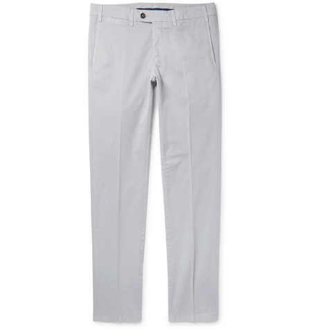CANALI | Canali - Slim-fit Stretch-cotton Twill Chinos - Gray | Goxip