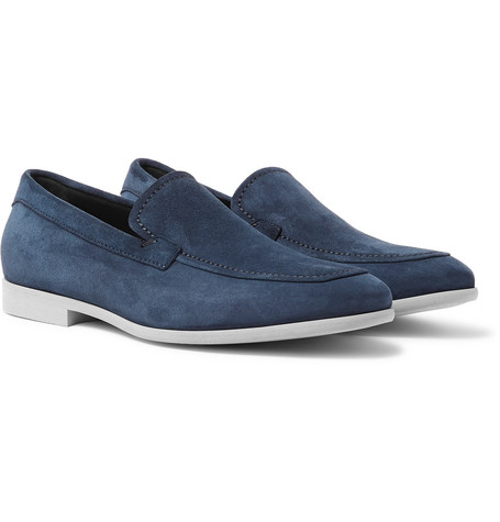 Suede Loafers - Navy