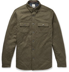 Faherty Reversible Quilted Cotton-Twill and Brushed Cotton-Jacquard Overshirt