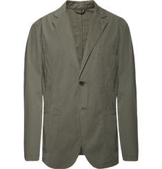 Aspesi Grey-Green Slim-Fit Unstructured Cotton-Poplin Blazer