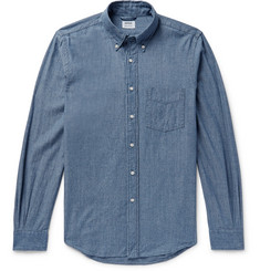 Aspesi Slim-Fit Button-Down Collar Cotton-Chambray Shirt