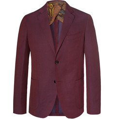 Etro Burgundy Slim-Fit Linen and Wool-Blend Suit Jacket