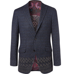 Etro Navy Slim-Fit Linen and Cashmere-Blend Jacquard Blazer
