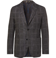 Etro Grey Checked Wool, Silk and Linen-Blend Blazer