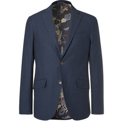 Etro Navy Cotton-Jacquard Blazer
