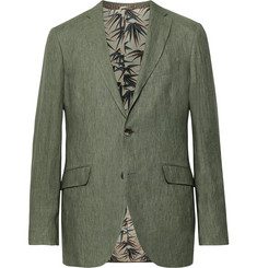 Etro - Green Slim-Fit Linen Suit Jacket