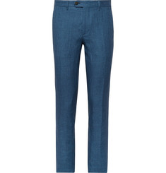 Etro Storm-Blue Linen Suit Trousers
