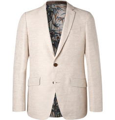 Etro Cream Slim-Fit Cotton and Linen-Blend Jacquard Blazer
