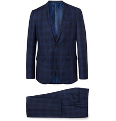 Etro Navy Slim-Fit Checked Wool, Cotton and Linen-Blend Suit