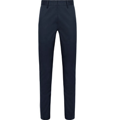 Etro Navy Slim-Fit Striped Stretch-Cotton Trousers