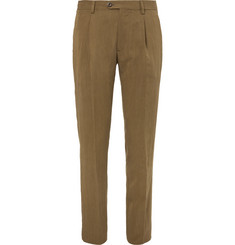 Etro Slim-Fit Pleated Lyocell-Blend Trousers