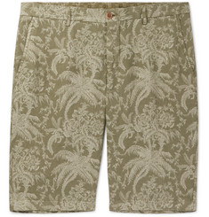 Etro Tapered Floral-Print Linen Bermuda Shorts
