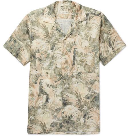 Camp Collar Printed Linen Shirt by Etro