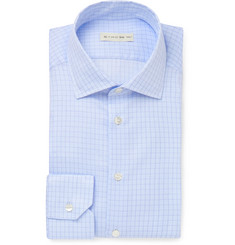 Etro Light-Blue Slim-Fit Cutaway-Collar Checked Cotton Shirt