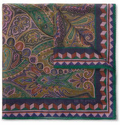 Etro - Paisley-Print Linen and Silk-Blend Pocket Square