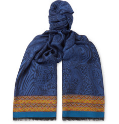 Etro Webbing-Trimmed Jacquard-Knit Scarf