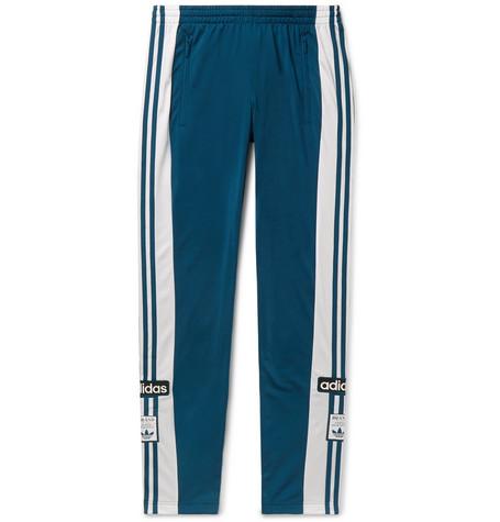 ADIDAS ORIGINALS | Adidas Originals - Adibreak Slim-fit Striped Satin-jersey Sweatpants - Green | Goxip