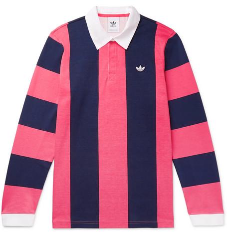 c72dc7d1a60 adidas Originals - Twill-Trimmed Striped Cotton-Jersey Rugby Shirt