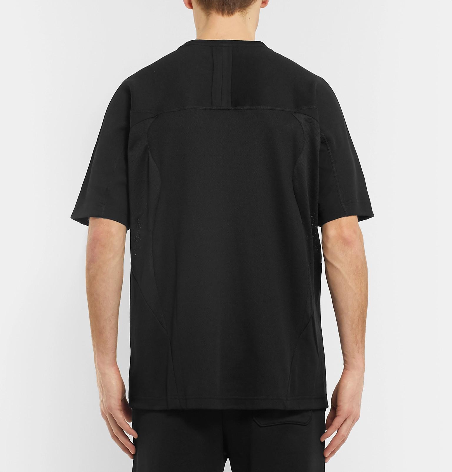 the best attitude c9951 3aed3 adidas OriginalsPT3 Logo-Appliquéd Mesh-Panelled Cotton-Blend Piqué T-Shirt