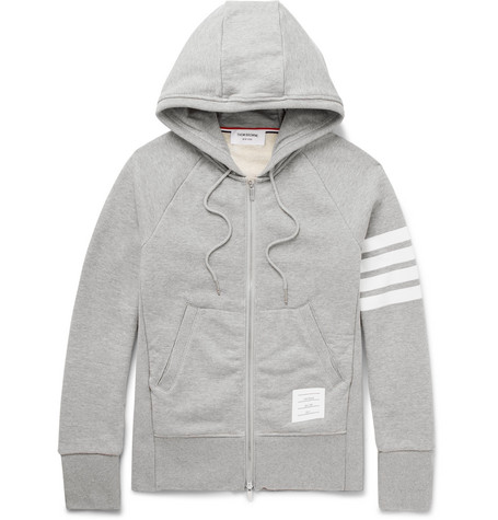 Thom Browne Striped Loopback Cotton-jersey Zip-up Hoodie - Navy Sale Footaction XsptfKB