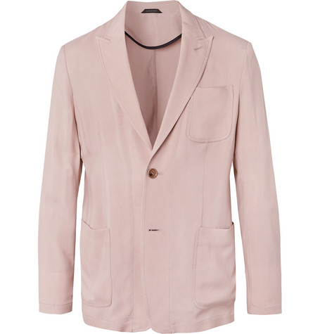 Pink Slim Fit Grain De Poudre Suit Jacket by Giorgio Armani