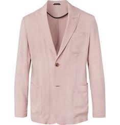 Pink Slim-fit Grain De Poudre Suit Jacket - Pink