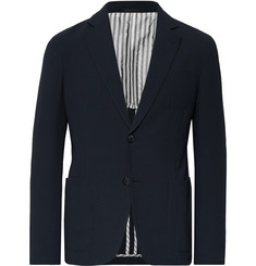 Giorgio Armani Storm-Blue Upton Slim-Fit Virgin Wool-Seersucker Suit Jacket