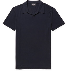 Giorgio Armani Slim-Fit Camp Collar Stretch-Jersey Polo Shirt