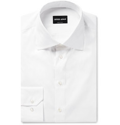 Giorgio Armani Slim-Fit White Cotton-Poplin Shirt