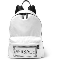 Versace Leather-Trimmed and Logo-Printed Shell Backpack