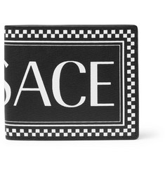 Versace Logo-Print Cross-Grain Leather Billfold Wallet