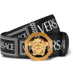 Versace 3.5cm Logo-Print Textured-Leather Belt