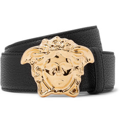 Versace - 4cm Black Full-Grain Leather Belt