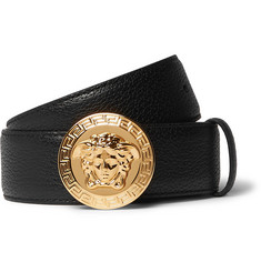 Versace 3.5cm Black Full-Grain Leather Belt