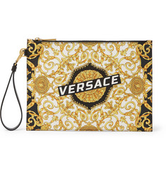 Versace Printed Full-Grain Leather Pouch