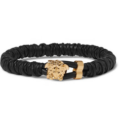 Versace Woven Leather and Brass Bracelet