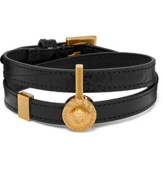 Versace - Croc-Effect Leather and Gold-Tone Wrap Bracelet