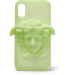 Versace - Glow-In-The-Dark Logo-Appliquéd Rubber iPhone X Case