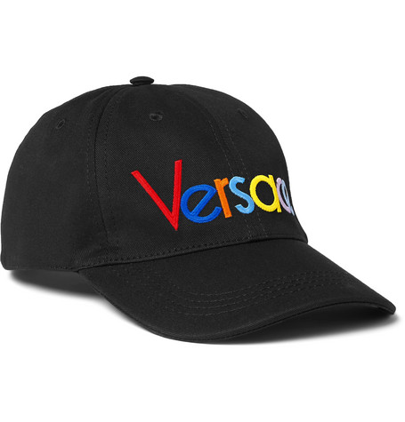 Versace – Logo-embroidered Cotton-twill Baseball Cap – Black