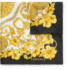 Versace Printed Silk-Twill Pocket Square