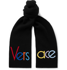 Versace Logo-Embroidered Ribbed Wool Scarf