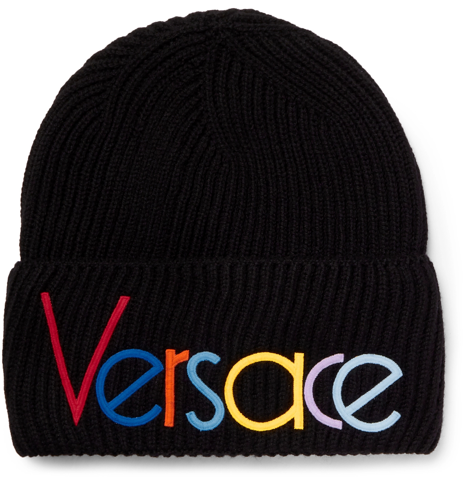 b5c6adf875cf9 Versace - Logo-Embroidered Ribbed Wool Beanie