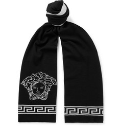 Versace Logo-Intarsia Wool and Silk-Blend Scarf