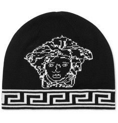 Versace Logo-Intarsia Wool and Silk-Blend Beanie