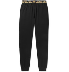 Versace Tapered Logo-Jacquard Stretch-Cotton Jersey Sweatpants