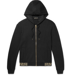 Versace Logo-Jacquard Stretch-Modal Zip-Up Hoodie