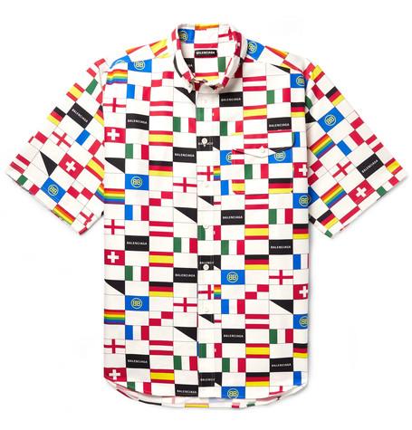 17584f48f0cb Balenciaga - Oversized Button-Down Collar Printed Cotton-Poplin Shirt