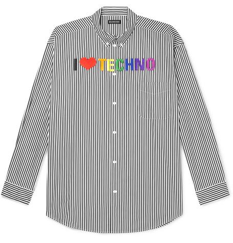 Balenciaga – Oversized Button-down Collar Embroidered Striped Cotton Shirt – Black