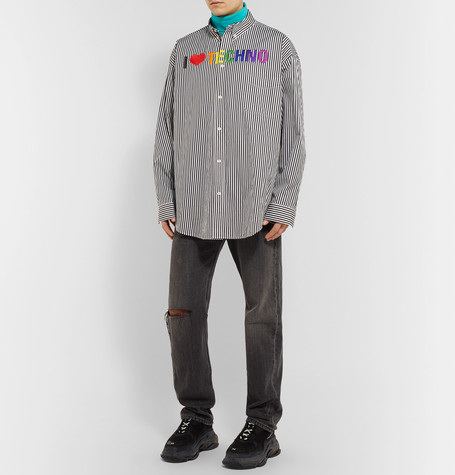 Oversized Button Down Collar Embroidered Striped Cotton Shirt by Balenciaga