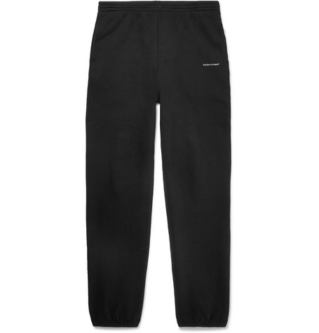 Balenciaga Tapered Logo-Print Fleece-Back Cotton-Jersey Sweatpants